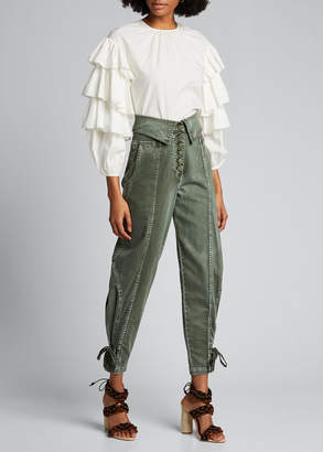 Ulla Johnson Tulia Cropped Blouse w/ Tiered Sleeves