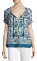 Joie Masha Printed Short-Sleeve Silk Top, Blue