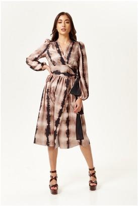 Liquorish Animal Print Wrap Dress in Cream