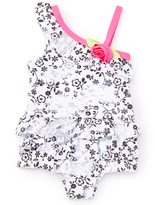 Pink Platinum White & Pink Floral Skirted One-Piece - Infant
