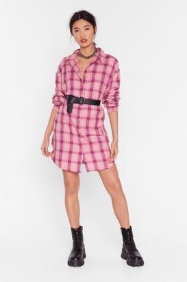 Nasty Gal Womens Shirt Case Scenario Check Dress - Pink - 6, Pink