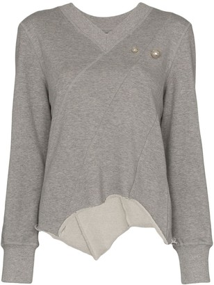 Blindness pearl appliqué sweatshirt