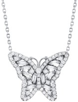 Suzanne Kalan Diamond Baguette Butterfly Necklace - White Gold