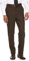 WD.NY Men's Slim-Fit Brown Tweed Wool-Blend Flat-Front Suit Pants