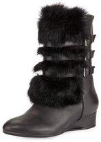 Taryn Rose Fritzy Fur Demi-Wedge Boot, Black