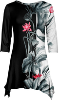 Azalea Black & Pink Floral Sidetail Tunic - Plus Too