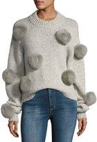 Tibi Alpaca Pompom Round-Neck Pullover Sweater