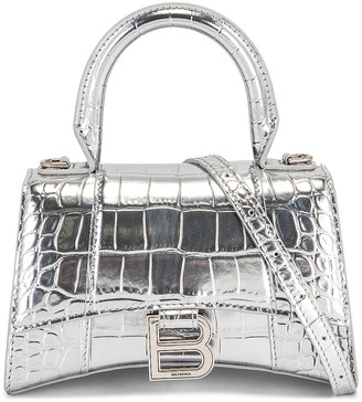 Balenciaga XS Embossed Croc Hourglass Top Handle Bag in Silver | FWRD