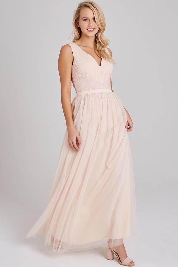 Little Mistress Bridesmaid Bea Nude Lace-Trim Maxi Dress
