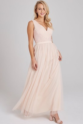 Little Mistress Bea Nude Lace-Trim Maxi Dress