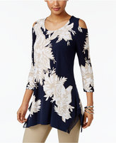 JM Collection Floral-Print Cold-Shoulder Top, Only at Macy's