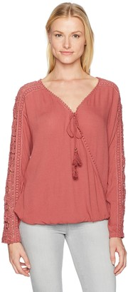 Taylor & Sage Women's Woven Wrap Top with Tassels