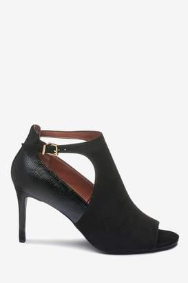 Next Womens Black Cut-Out Peep Toe Shoe Boots - Black