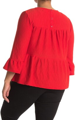 MelloDay Tiered Textured Button Back Knit Top