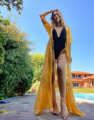 ASOS DESIGN lace insert tie front maxi beach kimono in sunshine yellow
