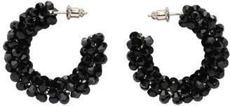 Simone Rocha Black Small Crystal Beaded Hoop Earrings