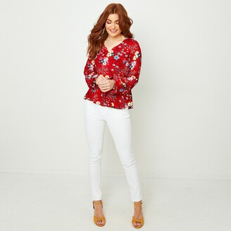 Joe Browns Floral Print Ruffled Blouse with V-Neck