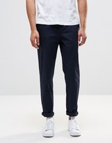 Pull&Bear Slim Chinos In Navy Blue
