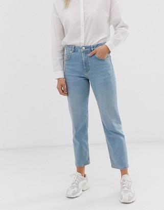 Asos Design DESIGN Florence authentic straight leg jeans in low stretch denim in light vintage wash-Blue
