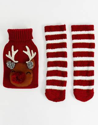Asos Design DESIGN Holidays reindeer hot water bottle and socks pack-Multi