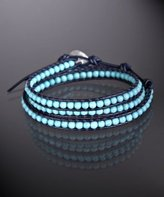 dark blue and turquoise beaded leather triple wrap bracelet