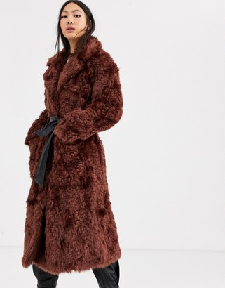 Asos faux fur belted coat-Brown