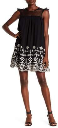 Nina Leonard Embroidered Hem Shift Dress
