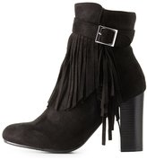 Charlotte Russe Fringe-Trim Ankle Booties