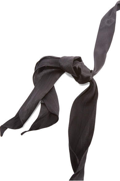 Saint Laurent Silk And Gold-tone Choker - Black