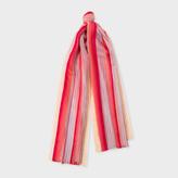 Paul Smith Women's Pastel Pink Gradient Stripe Silk-Blend Scarf