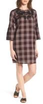 Petite Women's Caslon Bell Sleeve Plaid Shift Dress