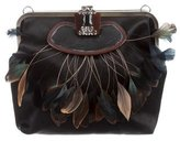 Marni Feather-Trimmed Satin Bag