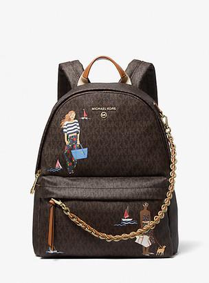 MICHAEL Michael Kors MK Slater Medium Jet Set Girls Backpack - Brown Multi - Michael Kors