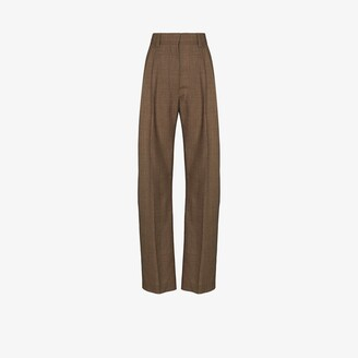Eftychia Basic checked wide leg wool trousers