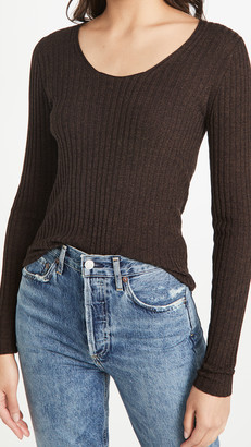 Vince Skinny Rib Scoop Neck Sweater