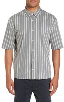 Vince Men's Regular Fit Stripe Short Sleeve Sport Shirt