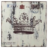 Lazy Susan 16 in. White Crown Print Wall Décor