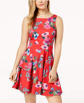 Speechless Juniors' Printed Asymmetrical Tiered Fit & Flare Dress
