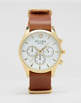 Reclaimed Vintage Chronograph Leather Watch In Tan