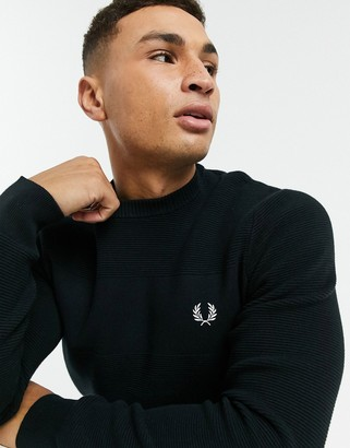 Fred Perry ribbed sweater in black