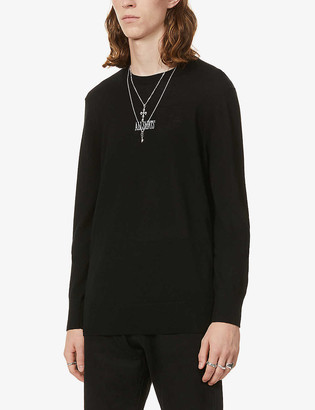 AllSaints Brand-embroidered wool jumper