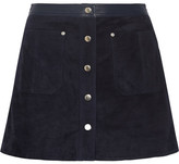 Rag & Bone Siggy Leather-trimmed Suede Mini Skirt - Midnight blue