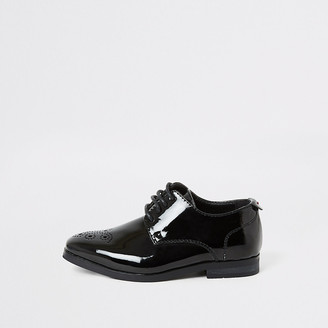 River Island Mini boys black patent pointed toe shoes