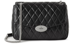 Mulberry Darley Shoulder Bag Black and Silver Toned Quilted Shiny Calf