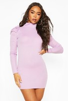 boohoo Ribbed High Neck Puff Sleeve Mini Dress