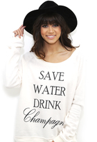 Brokedown Save Water Drink Champagne Sweatshirt in Cream