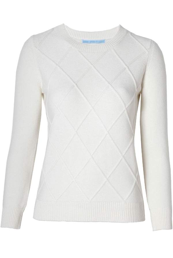 Draper James Argyle Sweater Willow White