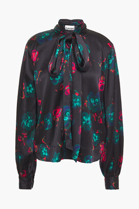 Ganni Pussy-bow Floral-print Silk-blend Satin Blouse