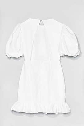 Nasty Gal Womens Volume Sleeve Open Back Plain Crepe Tea Dress - Off White