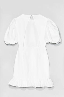 Nasty Gal Womens Volume Sleeve Open Back Plain Crepe Tea Dress - Tan - 10